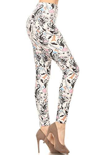 Leggings Depot NEW High Waist Popular Print Women's Leggings Pants Style Batch4 (Black Floral)