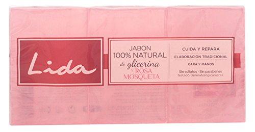 Lida Jabón 100% Natural de Glicerina y Rosa Mosqueta - 3 Unidades