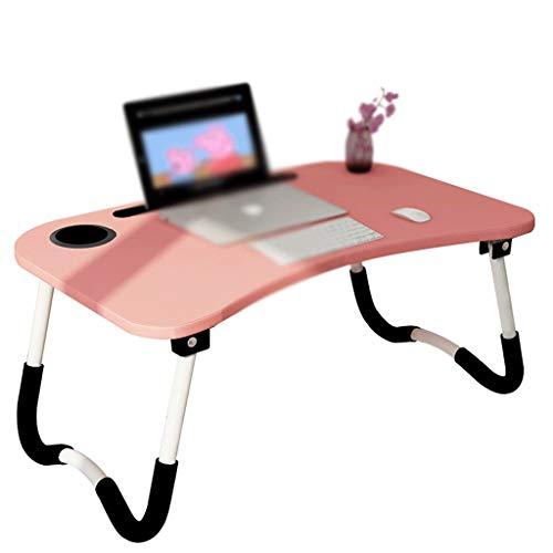 Laptop Plegable Mesa de Mesa Plegable Perezosa pequeña Mesa Haciendo Escritorio Dormitorio artefacto Escritorio para Dormitorio Estudiante Aumento el Panel más Grueso (Color : Pink)