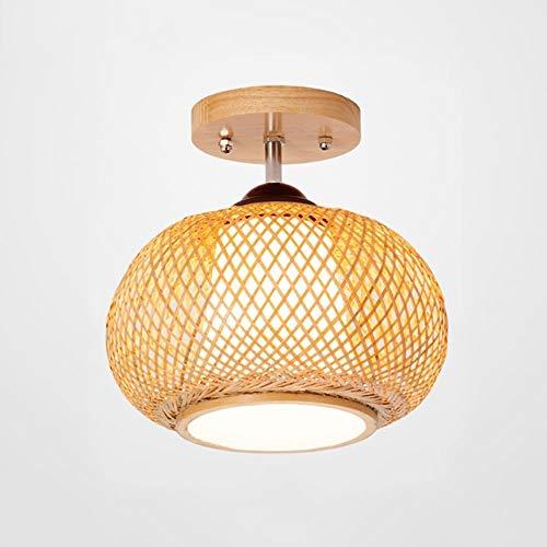 ZZC handgemaakte hanglamp van rotan, creatieve decoratie voor restaurant verlichting E27 eenvoudige balkon, veranda, hal, van hout