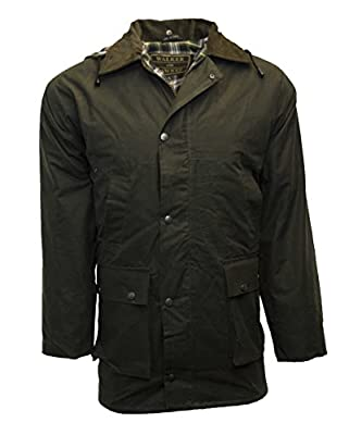 Walker and Hawkes Men's Padded Wax Jacket Countrywear Hunting Waxed Coat XX-Large Olive