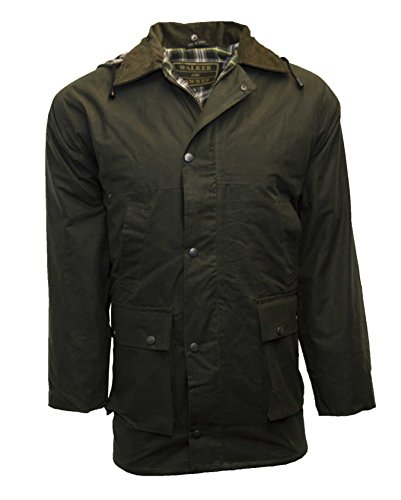 Walker and Hawkes Men's Padded Wax Jacket Countrywear Hunting Waxed Coat Large Olive