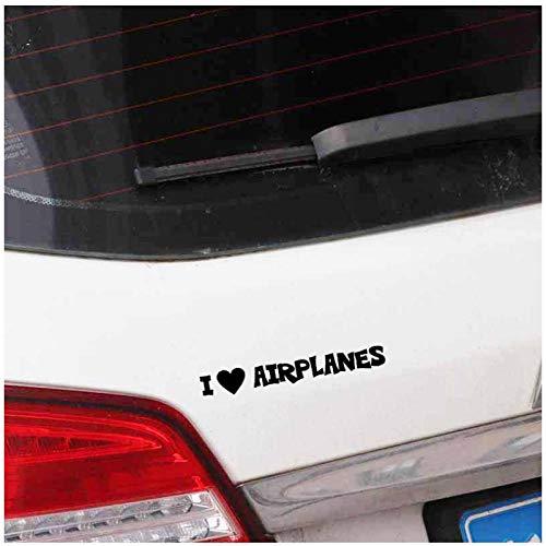 Autosticker, ik hou van vliegtuig, zelfklevende pvc, autosticker, raam bumpersticker, sticker, 16 x 2,5 cm, 4 stuks