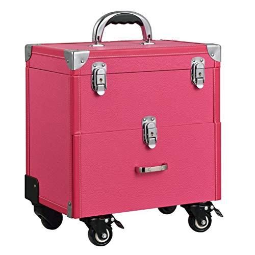 Maquillage Valise Trolley Vanity Train cas rangement Vanity Case rangement coiffure organisateur pour salon Nail artiste de maquillage professionnel,Pink