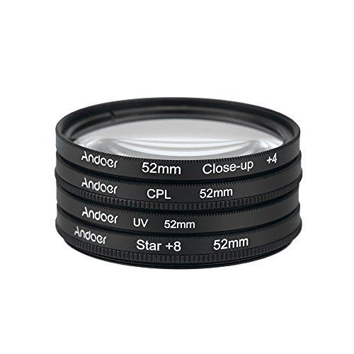 Andoer 52mm CPL+Close-Up+4 +Star 8-Point Filter Circular Filter Kit Circular Polarizer Filter Macro Close-Up Star 8-Point Filter with Bag for Nikon Canon Pentax Sony DSLR Camera