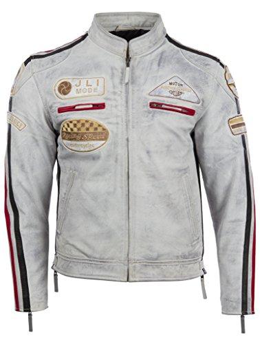 Herren echtes Leder Bikerjacke mit Bandkragen und Rennabzeichen von MDK, Weiß, 5XL