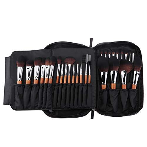 MSQ Make-up-Pinsel-Set mit luxuriöser Make-up-Tasche (Foundation, Puder, Lidschatten, Rouge, Mischen, Cremes und Lippenpinsel)