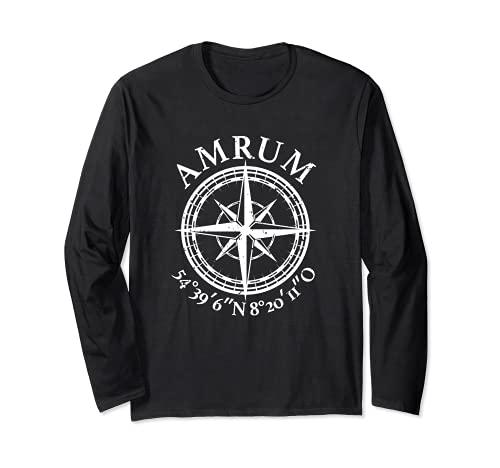 Amrum - Isla del Mar del Norte, coordinadas, idea de regalo Manga Larga