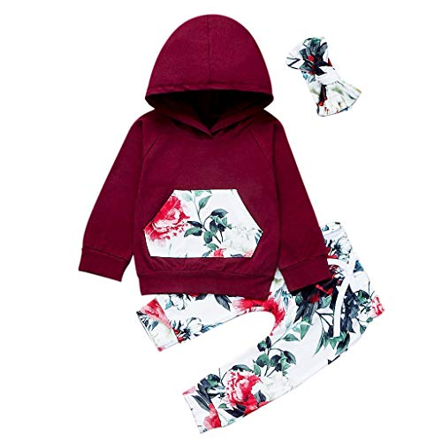 JERFER Kind Baby Mädchen mit Kapuze Langarm Print Pullover Tops + Pants + Haarband Outfit Set