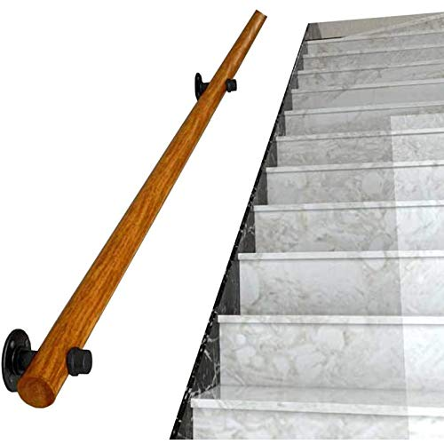 Wall Mounted Staircase Handrail Complete Kit Wooden Banister Rail Wall Support Hand Railings for Stairs 300cm