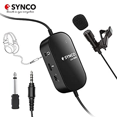 Lavalier-Microphone-Lapel-Mic SYNCO Lav S6M Mic 6M with Audio Monitor USB Port Clip on Omnidirectional Condenser 3.5mm Professional for Smartphone Cameras Audio Recorders Laptops PC, with Windshield