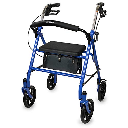 McKesson Rollator Folding Steel 300 lbs. 31 to 35 Inch Handle Height 146-10257BL-1