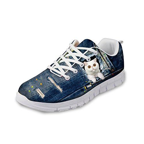 HUGS IDEA Cat Eyes Pattern Lindo Mujeres Casual Sneakers Comfort Running Zapatos, Azul (Gato Blanco), 35 EU