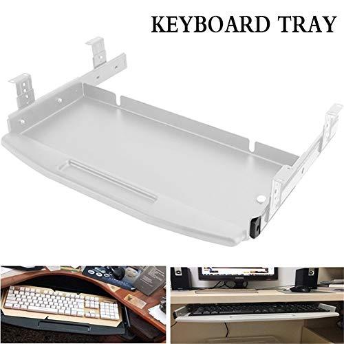 Tastaturablage, Tragbar Keyboard Tray Stahlmetall Ausziehbare Tastaturablage für Schreibtisch Und Tisch Tastaturauszug Tastaturhalterung (Color : White, Size : Lengthen Hanging Code)