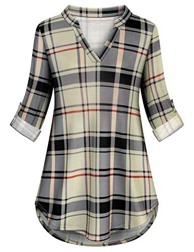 Luranee Long Shirts for Women to Wear with Leggings, Flannel Plaid Shirts Plus Size Casual Pleated Loose Fitting Tunic Tops V Neck Collared Strethy Soft Surroundings Womens Clothing Apricot 3XL