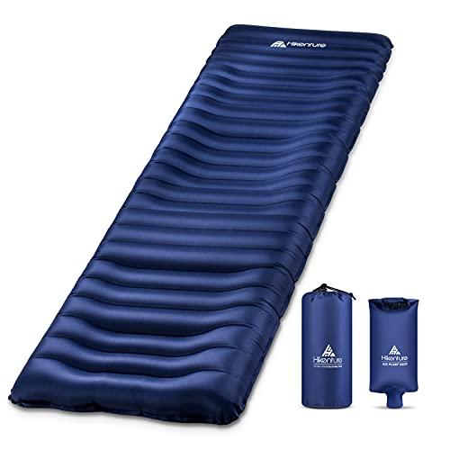 Hikenture Camping Sleeping Pad, Inflatable Backpacking Sleeping Pad,5 Inch Thick Camping Air Mattress with Pump for Hiking,Tent,Cot,Hammock(1100-A)