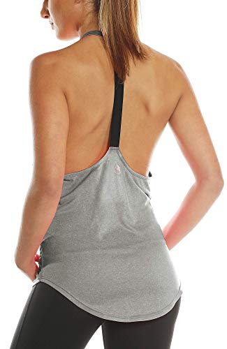 icyzone Damen Zumba Shirt Sport Top Lang - Rückenfrei Workout Gym Tanktop Yoga Oberteile (S, Grey)