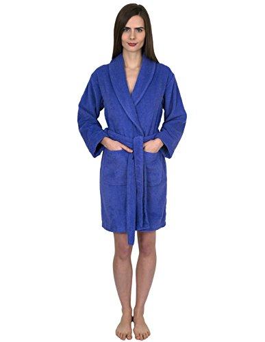 TowelSelections Women's Robe, Turkish Cotton Short Terry Bathrobe Small Blue Iris