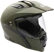 MMG Helmet Dual Sport Off Road Motorcycle Dirt Bike ATV - FlipUp Visor - Model 23 (L, Matte Green)