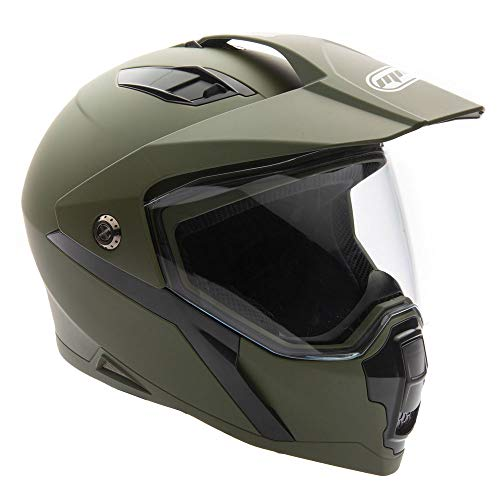 MMG Helmet Dual Sport Off Road Motorcycle Dirt Bike ATV - FlipUp Visor - Model 23 (M, Matte Black)
