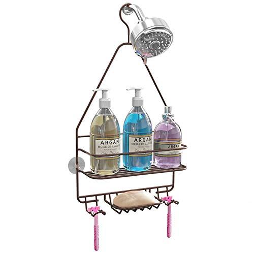 KeFanta Hanging Shower Caddy Shower Organizer Shelf Bathroom Storage Rack Over Shower Head Shampoo Soap Holder Bronze