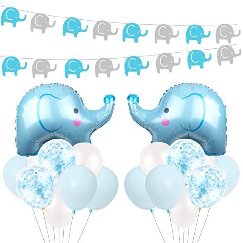 Kreatwow Blue Elephant Baby Shower Dekorationen für Jungen mit Blue Mylar Elephant Ballon Konfetti Luftballons für Baby Elephant Birthday Supplies
