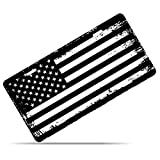 Zone Tech Tactical USA Flag License Plate - Black and White Grunge Premium Quality Thick Durable Novelty American Patriotic Pledge of Allegiance