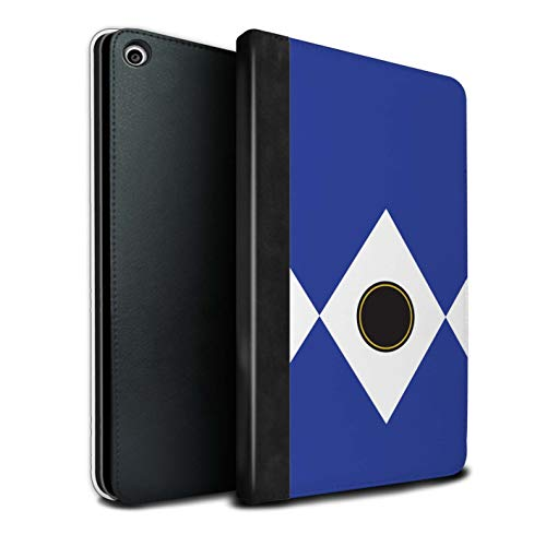eSwish PU-Leder Hülle/Case/Brieftasche für Apple iPad Mini 5 2019/5th Gen Tablet/Blau Muster/Fernseher Comic Ranger Kollektion