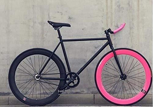 cuzona Bicicletta Fixed Gear Bike 46cm 52cm 56cm Fai da Te Single Speed Bici da Strada Pista Fixie Bicicletta Fixie Bike-Red_46cm (165cm-170cm)