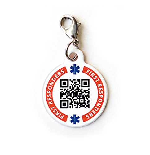 Dynotag® Web Enabled Smart Medical ID/Emergency Information Charm Bracelet Tag + Lobster Clasp with DynoIQ™ & Lifetime Service. Steel, 22mm Dia.