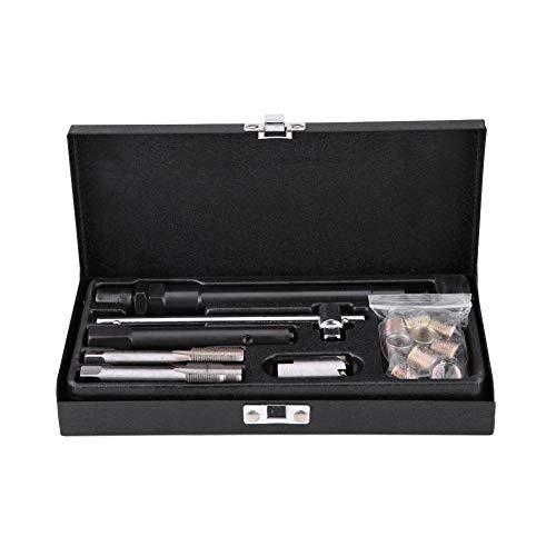 Gewindereparatur Set, 25tlg Gewindeschneider Gewindebohrer Gewindeeinsätze Zündkerzenschlüssel Set M14 x 1.25 M15.5 x 1.25 Zündkerzengewinde Reparatur mit Koffer