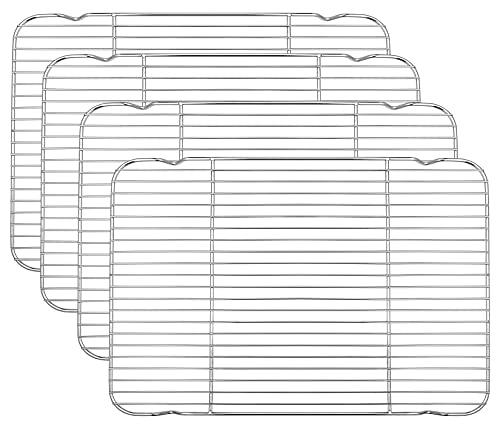 P&P Chef - Estante de cocina de alambre de acero inoxidable para horno (16.6 x 11.6 pulgadas), para horno de cocina, secado por refrigeración, no tóxico y fácil de limpiar, se adapta a media hoja