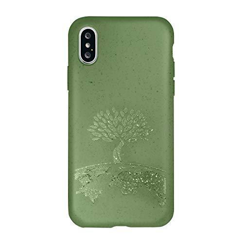FOREVER Hülle Kompatibel mit iPhone X/XS, Schutzhülle aus Biologisch Abbaubar Materialien, Bio Case Anti-Kratz, Stoßfestes Bumper, Umweltfreundliche Handyhülle, Rückseite Cover (Baum)