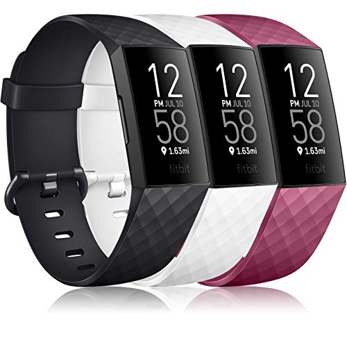 Wanme pour Fitbit Charge 3 Bracelet, Pack 3 Classique Réglable Bracelet De Rechange avec Classique en Aluminium Boucle en Alliage Compatible pour Fitbit Charge 3 (04 Black+White+Wine Red, S)