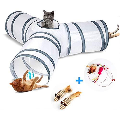 DMSL Katzenspielzeug Katzentunnel, Ball Cat Tunnel Haustier Tunnel Spieltunnel 3-Wege Pet Play Tunnel Tube Katzen, Geeignet für Kätzchen, Welpen, Kaninchen. kleine Hunde
