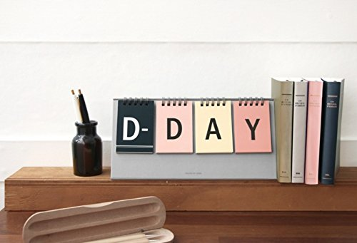 ICONIC D-Day kalender - Wirebound flip voor zowel permanente balie kalender en D-Day Desk kalender Grijs