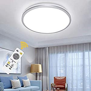 Depuley 35W Modern Dimmable LED Flush Mount Ceiling Light Fixture with Remote-15 Inch Round Close to Ceiling Lights for Living Room, Bedroom, Dining Room Lighting, Timing, 3 Color Changeable