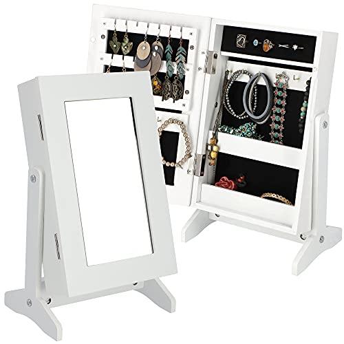 KADAX Joyero con espejo, 21 x 15 x 38,5 cm, caja de tablero de fibra de densidad media, joyero con patas, joyero para cadenas, anillos (blanco)