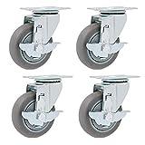 GANE Ruedas giratorias 4X, Rueda giratoria giratoria, 75 mm / 100 mm / 125 mm, Caucho Gris TPR, Placas de Montaje y cojinetes de Alta Resistencia