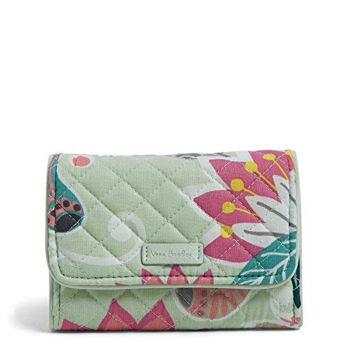Vera Bradley Signature Cotton Riley Compact Wallet with RFID Protection, Mint Flowers
