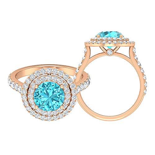 Rosec Jewels 14 quilates oro rosa redonda Round Brilliant Blue Moissanite Topacio azul - Suizo