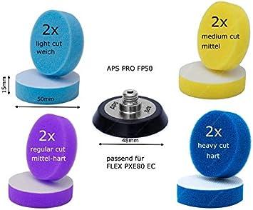 Aps Pro Fp50 50mm Klettteller Passend Für Flex Pxe80 Akku Minipolierer 8x Mini Pads 50mm In 4 Härtestufen Auto