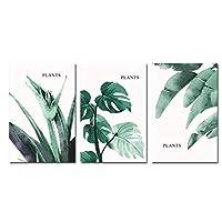 壁の芸術、緑の植物のキャンバスのポスターの葉ミニマリスプリントキャンバスの絵画北欧の写真モダンなリビングルームの装飾フレームなし