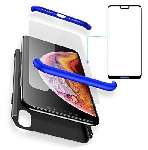 AILZH Funda Huawei P20 Lite 360°Caja Caso+Vidrio Templado(Azul Negro)