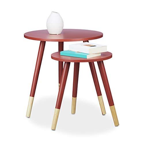 Relaxdays Table d'appoint ronde lot de 2 en bois mat laqué 3 pieds table console gigogne HxD 48 x 48 cm, rouge
