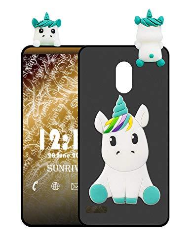 Sunrive Funda para Samsung Galaxy S4, Silicona Mate Funda Slim Fit Gel 3D Carcasa Case Bumper de Impactos y Anti-Arañazos Espalda Cover(W1 Unicornio 1) + 1 x Lápiz óptico