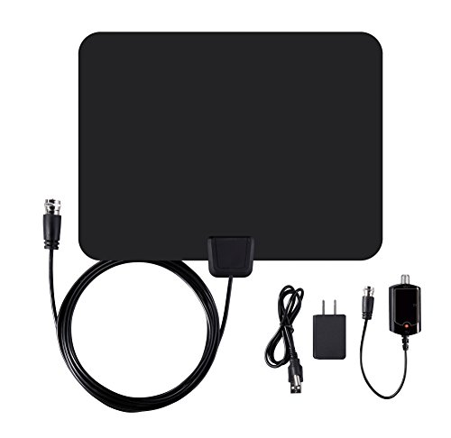 Ematic EDT201ANT Ultra-Thin Indoor HDTV Antenna with Amplifier 50-Mile Range, Black