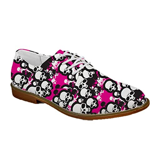 Zapatos de Cuero Casuales para Hombre Cool Punk Skull Business Oxfords Flats...