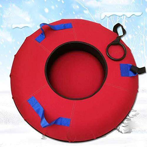 Weihnachten aufblasbare Schlitten Kind Erwachsene Schweres Aufblasbare Reifen Ski Spielzeug Red Snow-Tube mit Griff und Abschleppseil,100cm