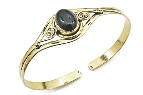 mantraroma Armreif Armband Messing golden Onyx schwarz (932-05-007-03)
